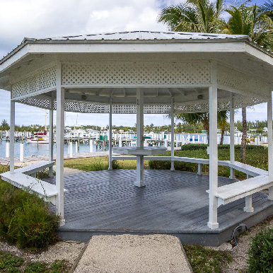 The gazebo outside the reception area in Orchid Bay
