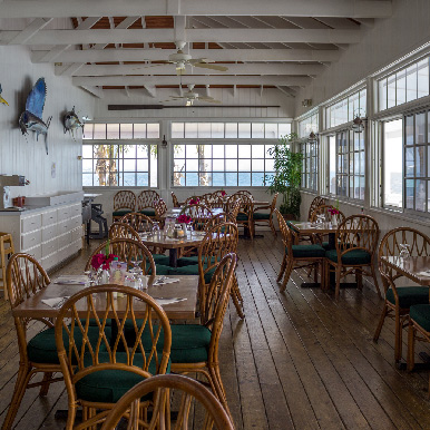 Inside Sunsetter Restaurant at Orchid Bay
